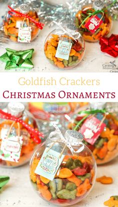 Need a fun idea to keep kids busy this Holiday season? Make a fun DIY Goldfish Cracker Kids Christmas Ornament that is engaging & offers a delicious snack all in one simple 10-minute craft activity.  via @2creatememories