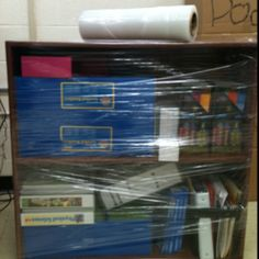 To all teachers! Instead of unpacking every shelf at the end of the year wrap them in shrink wrap! They can be moved without losing a thing!