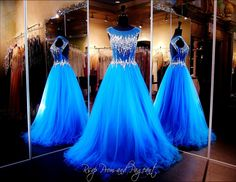 Brilliant Blue Ball Gown-High Illusion Neckline-Keyhole Open Back-Sheer Midriff-115JOL01511500450 at Rsvp Prom and Pageant, Atlanta, GA