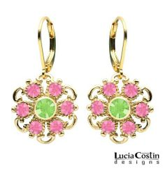 14K Yellow Gold Plated over .925 Sterling Silver Dangle Earrings by Lucia Costin Garnished with Light Green, Pink Swarovski Crystals Surrounded by Dots and Twisted Line Lucia Costin. $48.00. Delicate floral design. Lucia Costin dangle earrings. Produced delicately by hand, made in USA. Beautifully designed with peridot and rose Swarovski crystals. Unique and feminine, perfect to wear for special occasions and evenings