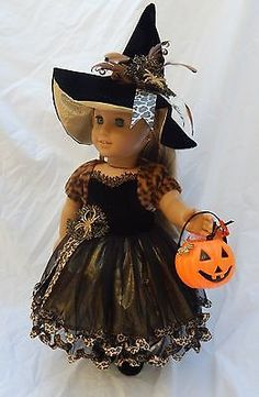 Ooak Witch Costume for American Girl Dolls with Shrug, Hat & Accessories by alldolledup_mn via eBay listed 10/5/15  BIN $64.99