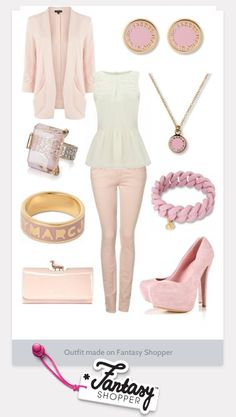 We love this pretty pastel outfit created on Fantasy Shopper! #loveit