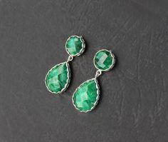Emerald Statement Earrings silver emerald by SaruchiRJewellery