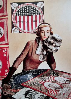 Evelyn Tripp in a Joset Walker dress with chinchilla scarf and muff, photo by Louise Dahl-Wolfe for Harper's Bazaar, Nov. 1948
