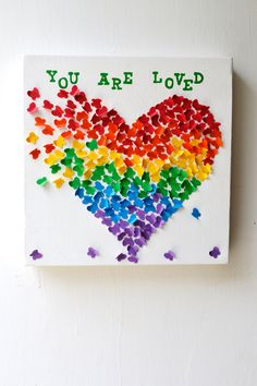 YOU ARE LOVED - 3D Butterfly Art / Butterfly Rainbow Heart / Nursery Decor /Children's Room Decor / Baby Shower Decor / Unique Birthday Gift. $80.00, via Etsy. I think I could make this for the playroom. So cute!