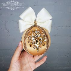 Luxury Christmas rhinestones ornaments, Handmade balls in gift box, Xmas decorations, Tree decor set, Gold baubles Blue Christmas Decor, Beaded Christmas Ornaments, Gold Ornaments, Handmade Christmas Decorations, Christmas Bows, Handmade Ornaments, Xmas Decorations, Christmas Crafts, Christmas Trees