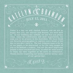 Such a nice way to remind guests to be present during the ceremony at an unplugged wedding. Renewal Wedding, Our Wedding Day, Summer Wedding, Wedding Events, Wedding Ceremony, Wedding Ideas, Unique Weddings, Real Weddings, One Sweet Day