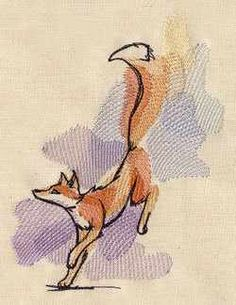 Watercolor Fox - Embroidered Decorative Absorbent White Cotton Flour Sack Towel…