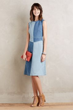 Pieced Denim Dress #anthropologie