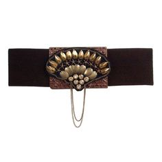 Elasticated belt embellished with metal trims and chains
