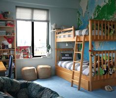 Name: Nick (12) and Lucas (8) Location: Upper West Side, Manhattan Room Size: Bedroom is 240 sqft and Playroom is 144 sqft. Jane has a beautiful home, that, while child friendly, makes very few aesthetic sacrifices. Her boys' bedroom and playroom are no exception. The rooms are sophisticated spaces that, at the same time, burst with excitement and the potential for adventure for Jane's two playful but wise-beyond-their-years young boys.
