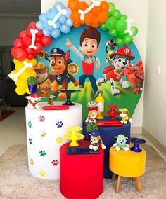Paw Patrol Birthday Decorations, Simple Birthday Decorations, Balloon Decorations, Baby Boy 1st Birthday, 2nd Birthday Parties, Skye Paw Patrol Cake, Deco Ballon, Balloons, Ideas