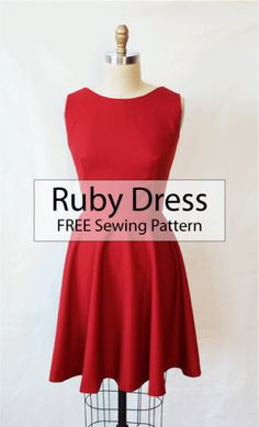 how to sew a Ruby Dress: FREE Dress Sewing Pattern. Kostenloses Schnittmuster f… How to sew a ruby dress: FREE dress sewing pattern. Free pattern for a dress. Dress Sewing Patterns, Sewing Patterns Free, Free Sewing, Clothing Patterns, Sewing Tips, Sewing Hacks, Sewing Tutorials, Pattern Sewing, Dress Tutorials