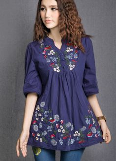 New 2013 Free Shipping vintage 70s mexican Ethnic Floral EMBROIDERED BOHO Hippie  Blouse DRESS Women Clothing Vestidos  S M L US $18.99