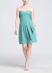 Short Crinkle Chiffon Dress with Front Cascade PLUM $139... 119