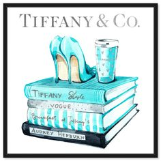Artwork 'Lass's Style Guide' features print of Blue Fashion and Glam. Unique Shoes with vivid Tiffany Blue hues make this Glam style the perfect decor for your home or office. Oliver Gal was voted Best in Wall Art! Tiffany Art, Tiffany And Co, Fashion Wall Art, Fashion Collage, Tiffany Blue Bedroom, Blue Artwork, Im Blue, Glam Room, Oliver Gal