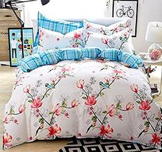 Unimall King Size Duvet Cover Sets 100 % Cotton Bedding Singing Birds and Fragrant Flowers Bedding Set 4 Pieces Cherry Printing, White