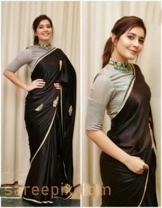 Beauty Pictures: 14 sarees that will make you look better Saree Blouse Neck Designs, Fancy Blouse Designs, Saree Blouse Patterns, Sari Blouse, Long Blouse, Sarees For Girls, Saree Poses, Indian Designer Outfits, Indian Outfits