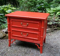 Vintage Faux Bamboo Night Stand Side Table Coral Orange Red Gold Tiki Hollywood Regency Palm Beach Style Nightstand