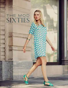 Teal and White Arrow Chevron Print Shift Dress in Chiffon from collection of 60s-inspired clothing at shopruche.com
