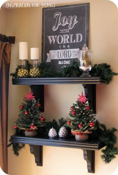 diy christmas decorated shelves with chalkboard sign diy chalkboard christmas chalkboard xmas decorations - Christmas Shelf Decorations