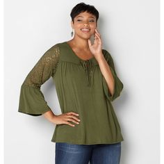 Avenue Plus Size Lace Babydoll Peasant Top (245 NOK) ❤ liked on Polyvore featuring tops, olive, plus size, plus size tops, green lace top, womens plus size tops, plus size baby doll tops and plus size lace tops