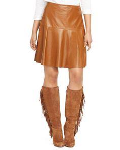 Lauren Ralph Lauren Flounced Leather Skirt