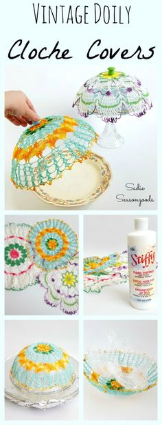 Turn gorgeous, colorful vintage doilies into cloche / plate covers using fabric stiffener! The perfect addition to your garden party table and a wonderful repurpose to boot!! Finall all the how-to details in this tutorial by #SadieSeasongoods / http://www.sadieseasongoods.com