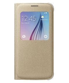Samsung Galaxy S6 S View Flip Case Stof Goud