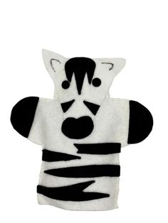 ZEBRA HAND PUPPET:   The Zebra Hand puppet is hand made with high quality felt. The black stripes are glued on to the body with a non-toxic tacky glue