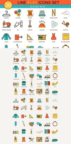 36 Sewing flat line icons set.. Clothes Icons. $8.00