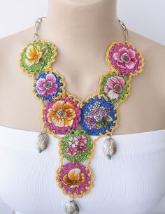 Items similar to ON SALE off,Yemeni Neclace.Crocheted necklace with yemeni appliques. on Etsy Fabric Necklace, Flower Necklace, Boho Necklace, Crochet Necklace, Crochet Jewellery, Textile Jewelry, Fabric Jewelry, Boho Jewelry, Handmade Crafts