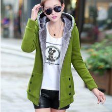 d464235d150 Gamiss Plus Size Autumn Winter Women Casual Outwear Hoodies Sweatshirt Long  Sleeve Hooded Fleece Warm Long Coat Jackets