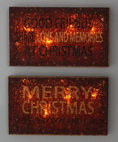 Look at this #zulilyfind! Christmas Light-Up Wall Sign - Set of Two #zulilyfinds