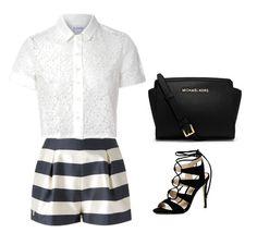 short de rayas + blusa crochet blanca + sandalias negras destalonadas + bolso satchel negro