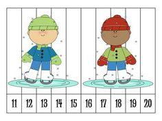 6 Winter Number Order  (11-20)Puzzles Freebie Preschool Puzzles, Numbers Preschool, Maths Puzzles, Math Numbers, Learning Numbers, Preschool Learning, Kindergarten Math, Teen Numbers, Ordering Numbers