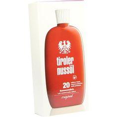 TIROLER NUSSÖL orig.Sonnenmilch wasserfestLSF 20:   Packungsinhalt: 150 ml Milch PZN: 06347495 Hersteller: DERMAPHARM AG Preis: 12,98 EUR…