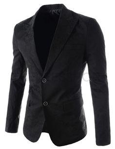 (GAJ104-BLACK) Mens Slim Fit Notched Lapel Single Breasted Patterned 2 Button Blazer