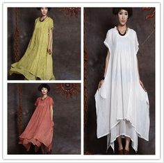 "New 47"" Summer Casual Maxi Short Sleeve Double Layer Cotton Women's Long Dress  #NewBrand #Maxi #Casual"