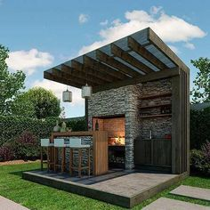 New Ideas For Diy Outdoor Kitchen Bar Patio Diy Outdoor Bar, Outdoor Kitchen Design, Outdoor Rooms, Outdoor Living, Outdoor Decor, Outdoor Kitchens, Luxury Kitchens, Outdoor Barbeque Area, Outdoor Sauna