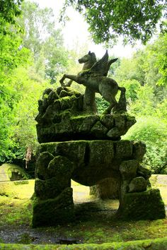 Pegasus sculpture in the Sacred Woods (Sacro Bosco) in Bomarzo, Italy