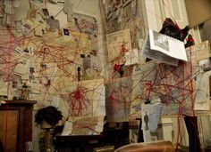 """Holmes' """"spider web"""" tracing the movements of Professor Moriarty, in """"Sherlock Holmes: A Game of Shadows"""""""