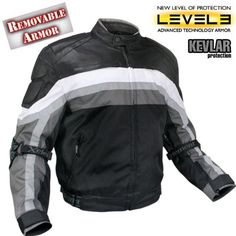Xelement Men's Armored Black and Grey Tri-Tex Fabric and Leather Trim Jacket with Level-3 Advanced Armor and Kevlar Protection - Size : Large