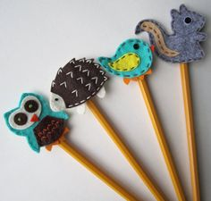 Woodland Creatures pencil toppers.. owl, squirrel, bird, and hedgehog .