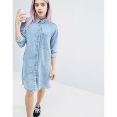 Monki Acid Wash Shirt Dress (510 NOK) ❤ liked on Polyvore featuring dresses, blue, blue dress, acid wash shirt dress, long shirt dress, monki dresses and acid wash dress