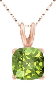 Jewel Zone Us Women's Classic Birthstone Cushion Shape Pendant Necklace in 10k Solid Rose Gold (2 cttw). Crafted in 10K Solid Rose Gold. The fashion Pendant enhance with the Peridot Birthstone of August month bring you GOOD LUCK. Find a special gift for a loved one or a beautiful piece that complements your personal style with jewelry from the Jewel Zone US Collection. Note: Due to the difference between different monitors, the picture may not reflect the actual color of the item. We...