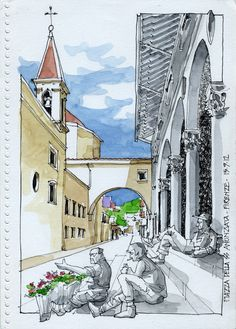 JR Sketches: Italia 1º Set 2012. 17x24, Pen & Watercolor