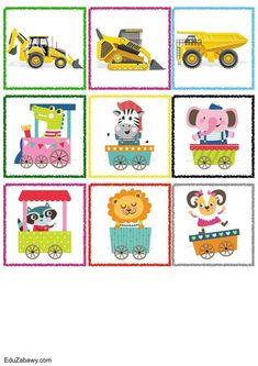 Znaczki przedszkolne – Transport Teaching Kids, Kids Rugs, Transport, Art For Toddlers, Animals, Strollers, Games, Notebooks, Shapes