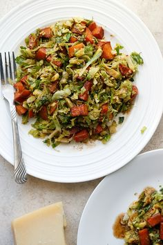 Warm Sweet Potato and Brussels Sprouts Salad with a Parmesan Vinaigrette - belle vie