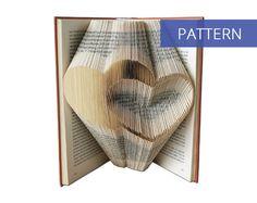 Folded Book Art Pattern - Two Hearts - 175 Folds - Including manual - Bookfolding Pattern - Folded Book Pattern - Book Folding pattern